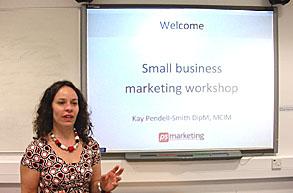 Kay Smith presenting a marketing workshop
